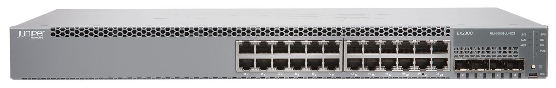 EX2300-24P Juniper EX2300 24-port 10/100/1000BaseT PoE+, 4 x 1/10G SFP/SFP+ (optics sold separately)