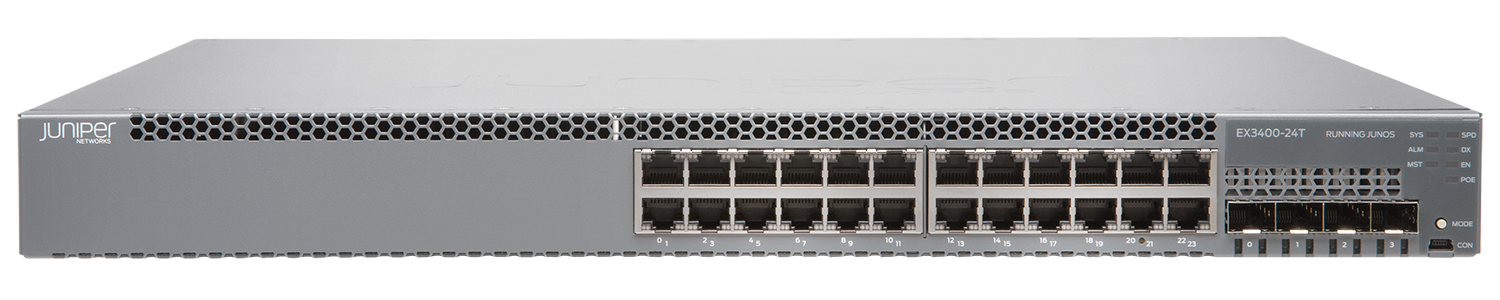EX3400-24P Juniper Networks EX3400 ES 24-port 10/100/1000BaseT PoE+, 4 x 1/10G SFP/SFP+, 2 x 40G QSFP+, redundant fans, front-to-back airflow, 1 AC PSU JPSU-600-AC-AFO included (optics sold separately)