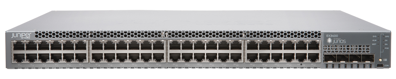 EX3400-48T-AFI Juniper Networks EX3400 ES 48-port 10/100/1000BaseT, 4 x 1/10G SFP/SFP+, 2 x 40G QSFP+, redundant fans, back-to-front airflow, 1 AC PSU JPSU-150-AC-AFIincluded (optics sold separately)