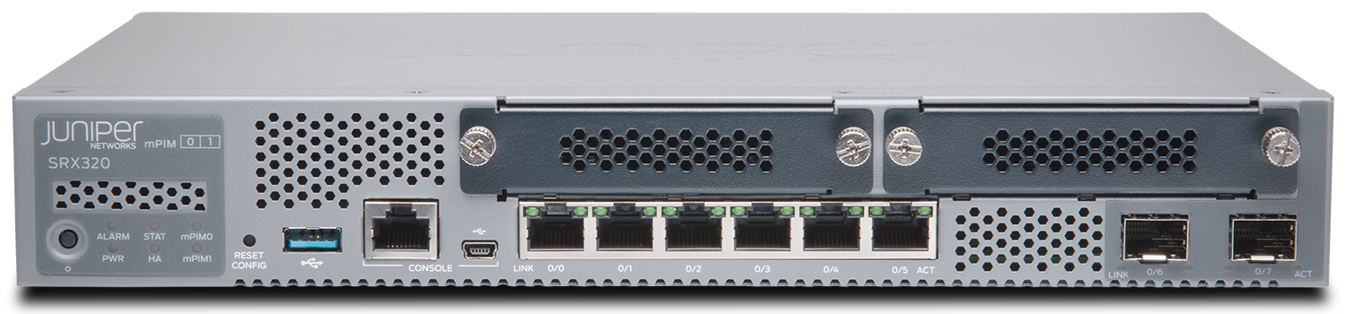 SRX320 Juniper SRX320 (Hardware Only, require SRX300-JSB or SRX300-JSE to complete the System)  with 8GE (w 2x SFP), 4G RAM, 8G Flash and 2x MPIM slots. Includes external power supply and cable. RMK not included