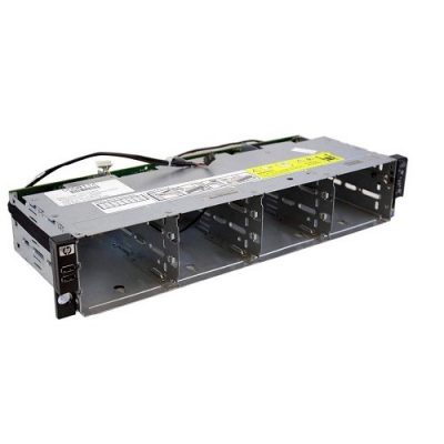 507254-001 (Refurb) HP 12-bay LFF drive cage assembly - Includes USB FPB,  PB FPB, backplane, and cables
