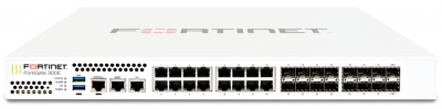 FG-300E FortiGate w/ 18 x GE RJ45 ports (including 1 x MGMT port, 1 X HA port, 16 x switch ports), 16 x GE SFP slots, SPU NP6 and CP9 hardware accelerated