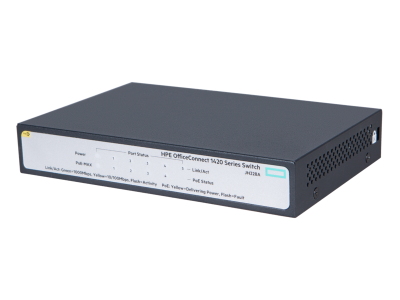 JH328A HPE 1420 5G PoE+ (32W) Switch, 5 x GIG Ports(Only 4 Ports are PoE), Unmanaged, Limited Lifetime Warranty
