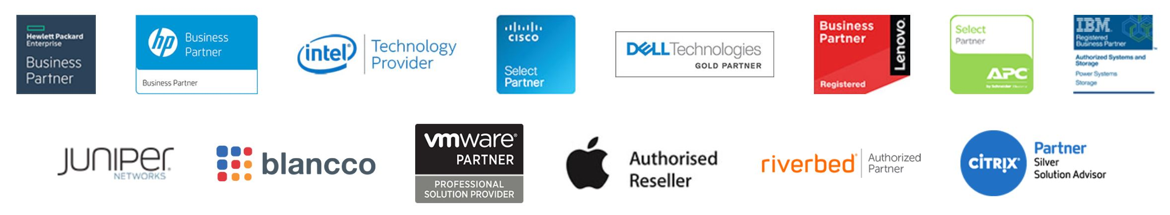 Touchpoint's various industry partners including Intel, HPE, HP, Cisco, Dell, Lenovo, IBM, Juniper, Blancco, Vmware, Apple, APC, Riverbed and Citrix