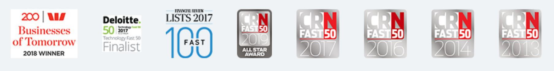 Touchoint's Awards including AFR Fast 100, CRN Fast 50, Westpac Businesses of Tomorrow and Deloitte Technology Fast 50