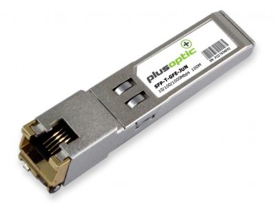 SFP-T-GFE-JUN PlusOptic Juniper compatible Copper SFP Transceiver, 10/100/1000Mbps over 100M, RJ-45 connector for Copper